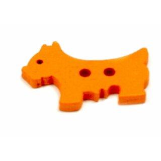 10 Hunde Holz-Knöpfe Orange 26mm 2Loch Terrier
