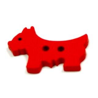 10 Hunde Holz-Knöpfe Rot 26mm 2Loch Terrier