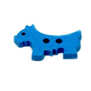 10 Hunde Holz-Knöpfe Blau 26mm 2Loch Terrier
