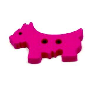 10 Hunde Holz-Knöpfe Pink 26mm 2Loch Terrier