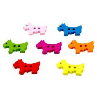 10 Hunde Holz-Knöpfe Farbmix 26mm 2Loch Terrier