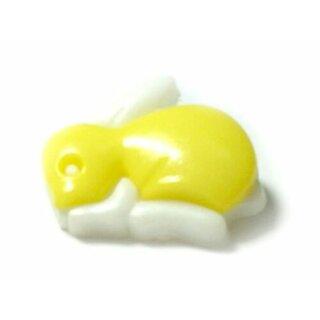 Hasen Knöpfe in Weiß-Hell-Gelb 20mm x 15mm Häschen