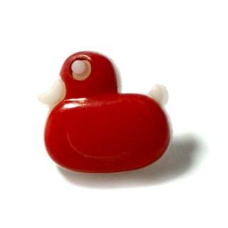 Enten Knöpfe in Weiß-Rot 15mm x 12mm Entchen
