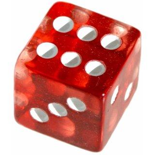 Würfel 19mm mit Punkten Transparent-Rot