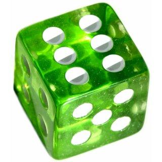 Würfel 19mm mit Punkten Transparent-Grün