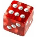 6 Würfel 19mm mit Punkten im Set Transparent-Rot