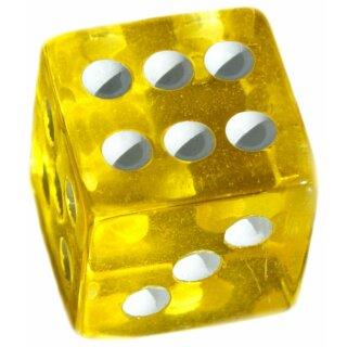 6 Würfel 19mm mit Punkten im Set Transparent-Gelb