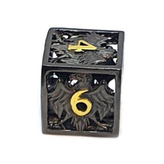 6 Seitiger Metall-Würfel Hohl Adler Schwarz-Gold Zahlen
