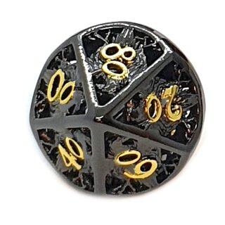 10 Seitiger Metall-Würfel 00-90 Hohl Adler Schwarz-Goldfarben
