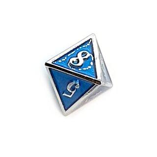 8 Seitiger Metall-Würfel Silber-Blau mit Zahlen