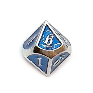 10 Seitiger Metall-Würfel Silber-Blau mit Zahlen 0-9
