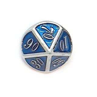 10 Seitiger Metall-Würfel Silber-Blau mit Zahlen 00-90