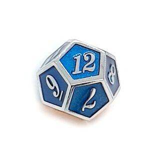 12 Seitiger Metall-Würfel Silber-Blau mit Zahlen 1-12