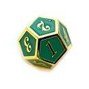 12 Seitiger Metall-Würfel Gold-Grün mit Zahlen...