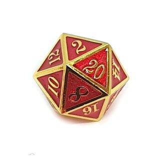 20 Seitiger Metall-Würfel Gold-Rot mit Zahlen 1-20