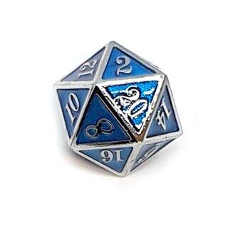 20 Seitiger Metall-Würfel Silber-Blau mit Zahlen 1-20