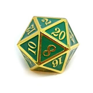 20 Seitiger Metall-Würfel Gold-Grün mit Zahlen 1-20