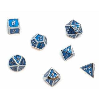 7er Set Metall-Würfel Silber-Blau mit Zahlen W4-W20