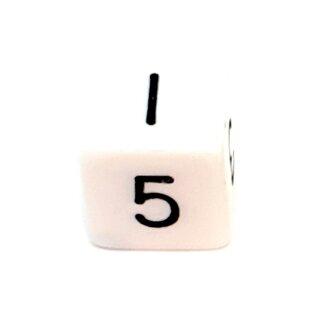 W6 Würfel Weiß-Schwarz mit Zahlen gerade Kanten 15mm