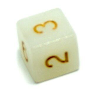 W6 Würfel Weiß-Glitter mit Zahlen gerade Kanten 15mm