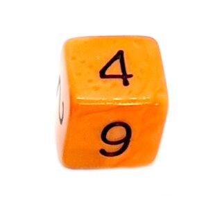 W6 Würfel Orange-Schwarz mit Zahlen gerade Kanten 15mm