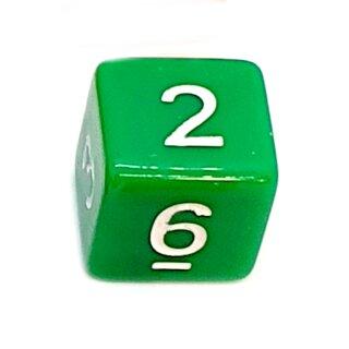 W6 Würfel Grün-Weiß mit Zahlen gerade Kanten 15mm