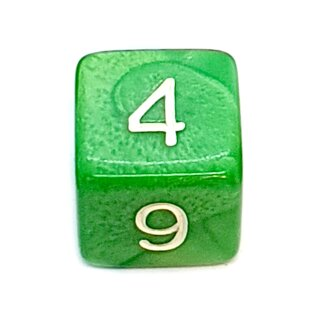 W6 Würfel Grün-Perlmutt mit Zahlen gerade Kanten 15mm