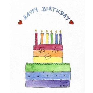 Kathl´s LGBT-Postkarte Happy Birthday Torte 10 x 15cm