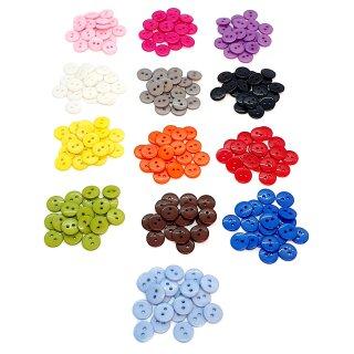 20 Runde Knöpfe 11mm bunte Farben 2-Loch