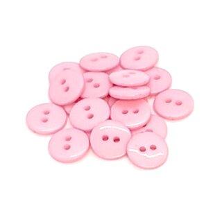 20 Runde Knöpfe 11mm Rosa 2-Loch