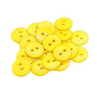 20 Runde Knöpfe 11mm Gelb 2-Loch