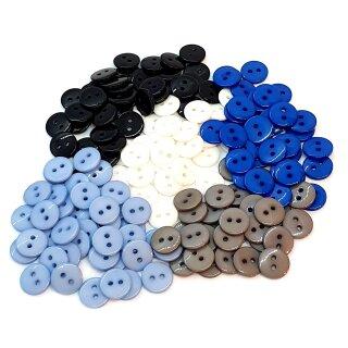 20 Runde Knöpfe 11mm Farb-Mix Junge 2-Loch