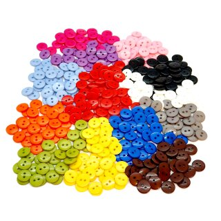 20 Runde Knöpfe 11mm Mix 13 Farben 2-Loch