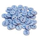 50 Runde Knöpfe 11mm Hellblau 2-Loch