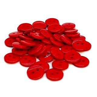 50 Runde Knöpfe 11mm Rot 2-Loch