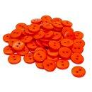50 Runde Knöpfe 11mm Orange 2-Loch