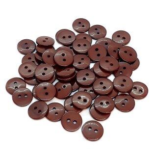 50 Runde Knöpfe 11mm Braun 2-Loch