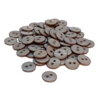 50 Runde Knöpfe 11mm Grau 2-Loch
