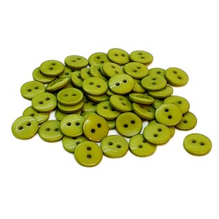 50 Runde Knöpfe 11mm Moos-Grün 2-Loch