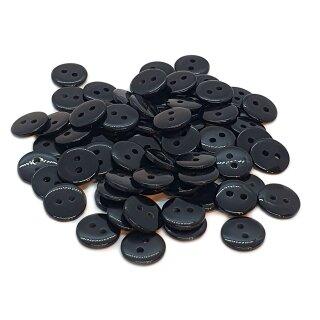 50 Runde Knöpfe 11mm Schwarz 2-Loch