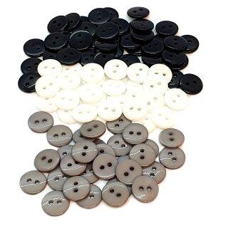 50 Runde Knöpfe 11mm Grau/Schwarz/Weiß 2-Loch