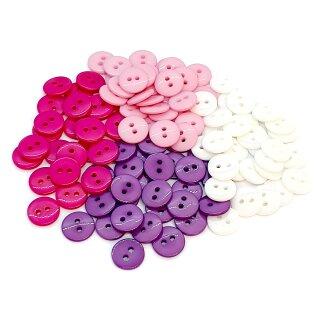 50 Runde Knöpfe 11mm Farbmix Mädchen 2-Loch