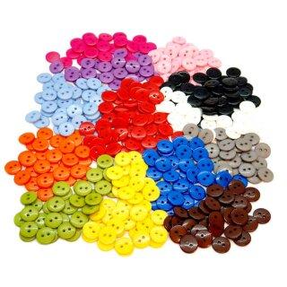 50 Runde Knöpfe 11mm Mix 13 Farben 2-Loch
