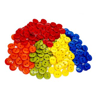 50 Runde Knöpfe 11mm Mix 5 Farben 2-Loch