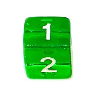 4 Würfel Transparent-Grün Zahlen Gerade Kanten 15mm
