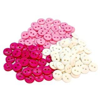 50 Knöpfe 9mm Mix Mädchen 2-Loch