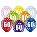 5 Farbige Ballons 60. Geburtstag Bunt mit weißen...