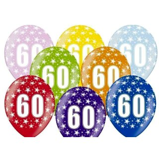 5 Farbige Ballons 60. Geburtstag Lila mit weißen Zahlen