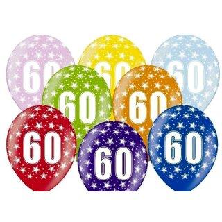 5 Farbige Ballons 60. Geburtstag Blau mit weißen Zahlen