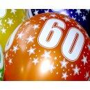 5 Farbige Ballons 60. Geburtstag im Farb-Mix mit Zahlen